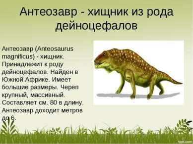 Антеозавр - хищник из рода дейноцефалов Антеозавр (Anteosaurus magnificus) - ...