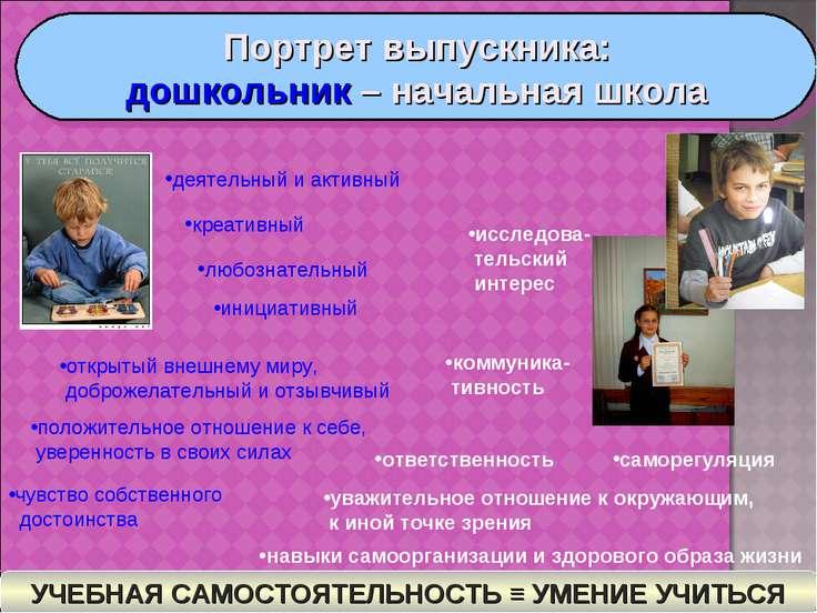Портрет выпускника: дошкольник – начальная школа деятельный и активный креати...