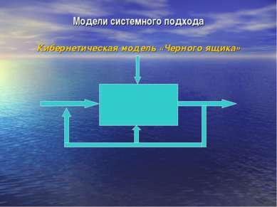 Модели системного подхода Кибернетическая модель «Черного ящика»