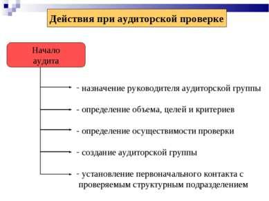 Действия при аудиторской проверке Начало аудита назначение руководителя аудит...