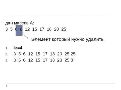 Элемент который нужно удалить дан массив А: 3 5 6 8 12 15 17 18 20 25 k:=4 3 ...