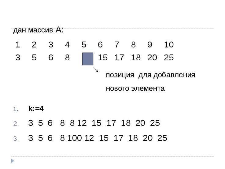 дан массив А: k:=4 3 5 6 8 8 12 15 17 18 20 25 3 5 6 8 100 12 15 17 18 20 25 ...