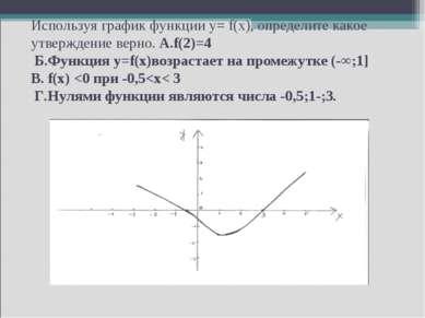 Используя график функции y= f(x), определите какое утверждение верно. А.f(2)=...