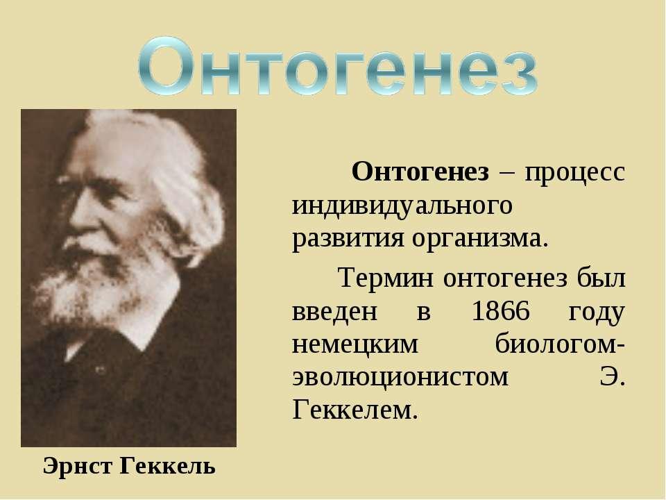 Онтогенез – процесс индивидуального развития организма. Термин онтогенез был ...