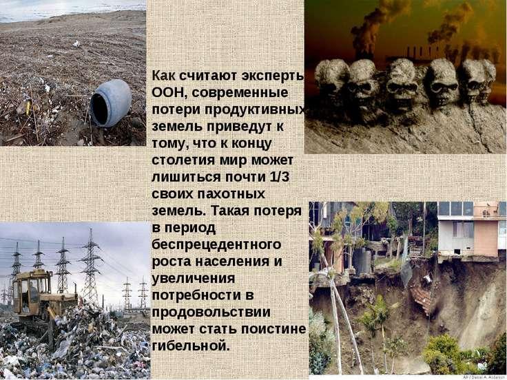 Как считают эксперты ООН, современные потери продуктивных земель приведут к т...