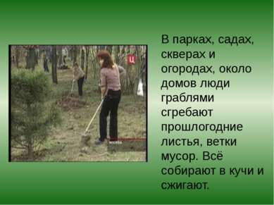 В парках, садах, скверах и огородах, около домов люди граблями сгребают прошл...
