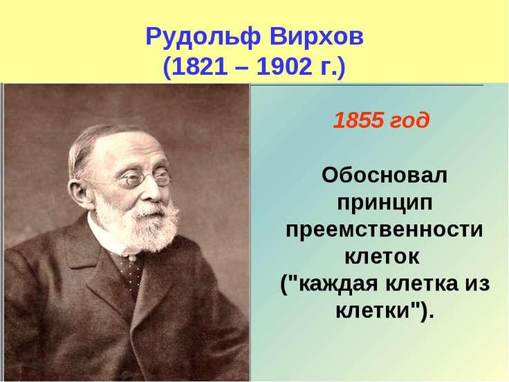Рудольф Вирхов (1821 – 1902 г.) 1855 год Обосновал принцип преемственности кл...