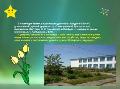 В настоящее время в Красноярке действуют средняя школа с дошкольной группой (...