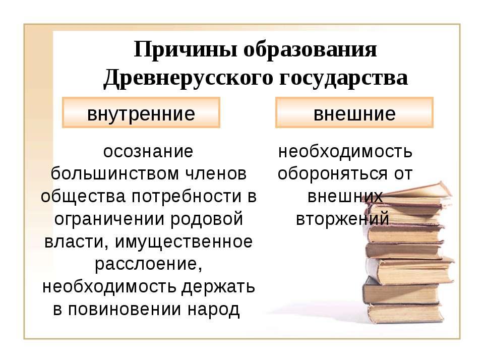 Причины образования Древнерусского государства внутренние внешние осознание б...