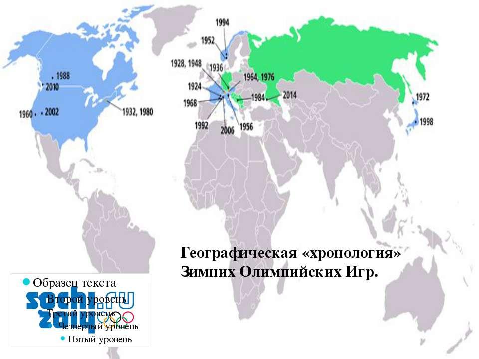 Географическая «хронология» Зимних Олимпийских Игр.