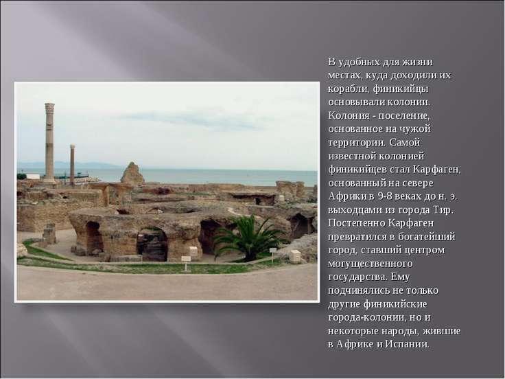 В удобных для жизни местах, куда доходили их корабли, финикийцы основывали ко...