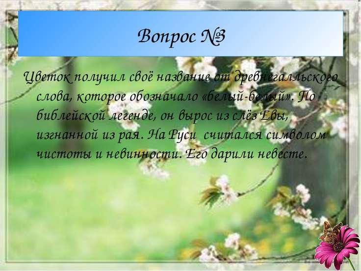 Вопрос №3 Цветок получил своё название от древнегалльского слова, которое обо...