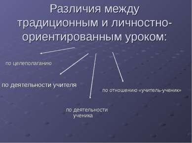 Различия между традиционным и личностно-ориентированным уроком: по деятельнос...
