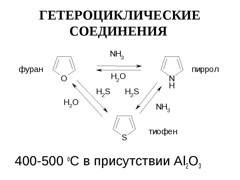 ГЕТЕРОЦИКЛИЧЕСКИЕ СОЕДИНЕНИЯ 400-500 оС в присутствии Al2O3