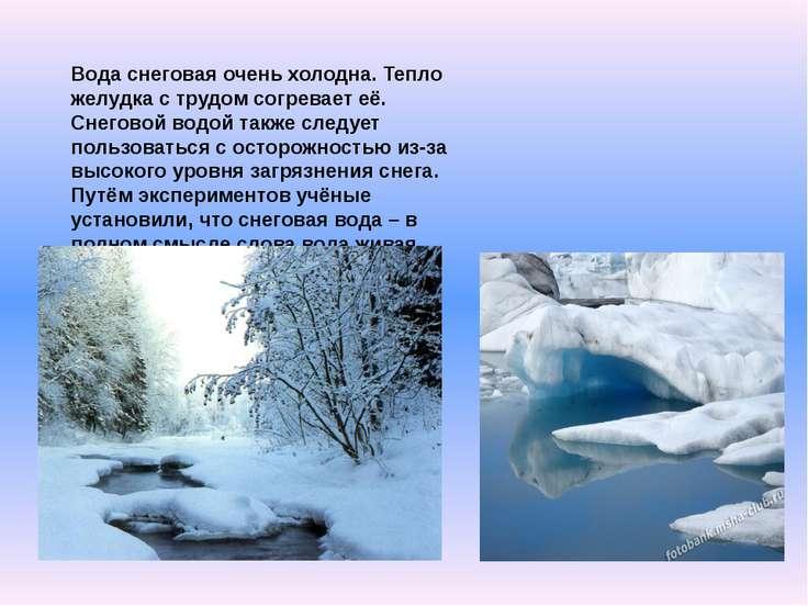 Вода снеговая очень холодна. Тепло желудка с трудом согревает её. Снеговой во...
