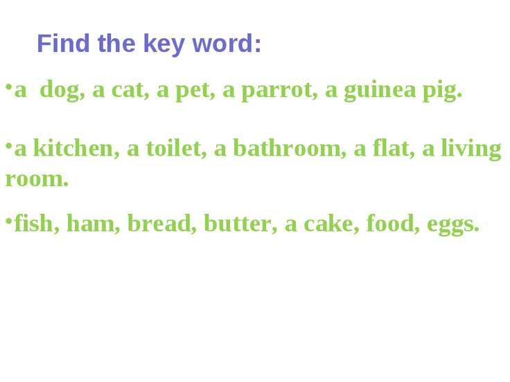 Find the key word: a dog, a cat, a pet, a parrot, a guinea pig. a kitchen, a ...