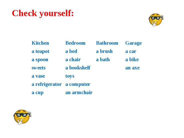 Check yourself: Kitchen Bedroom Bathroom Garage a teapot a bed a brush a car ...