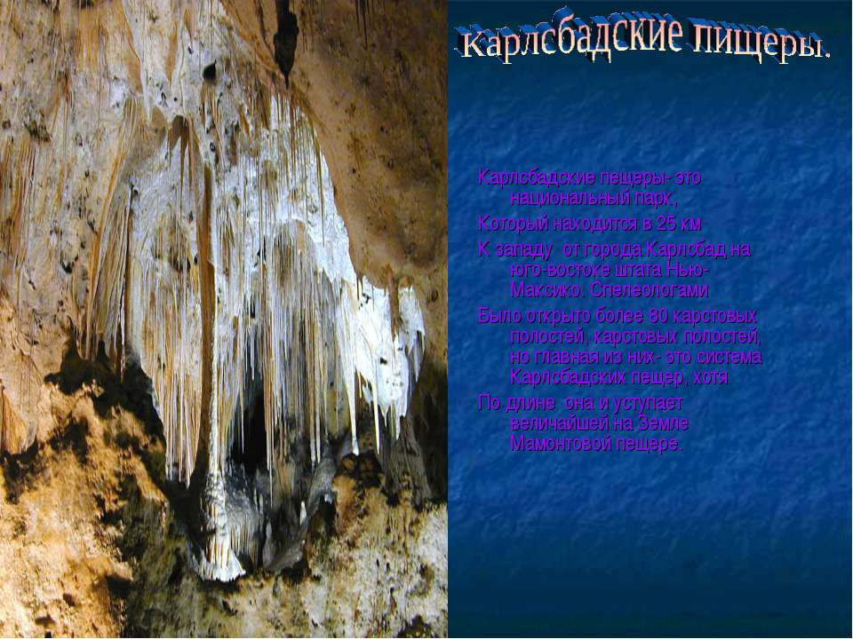 Карлсбадские пещеры- это национальный парк, Который находится в 25 км К запад...