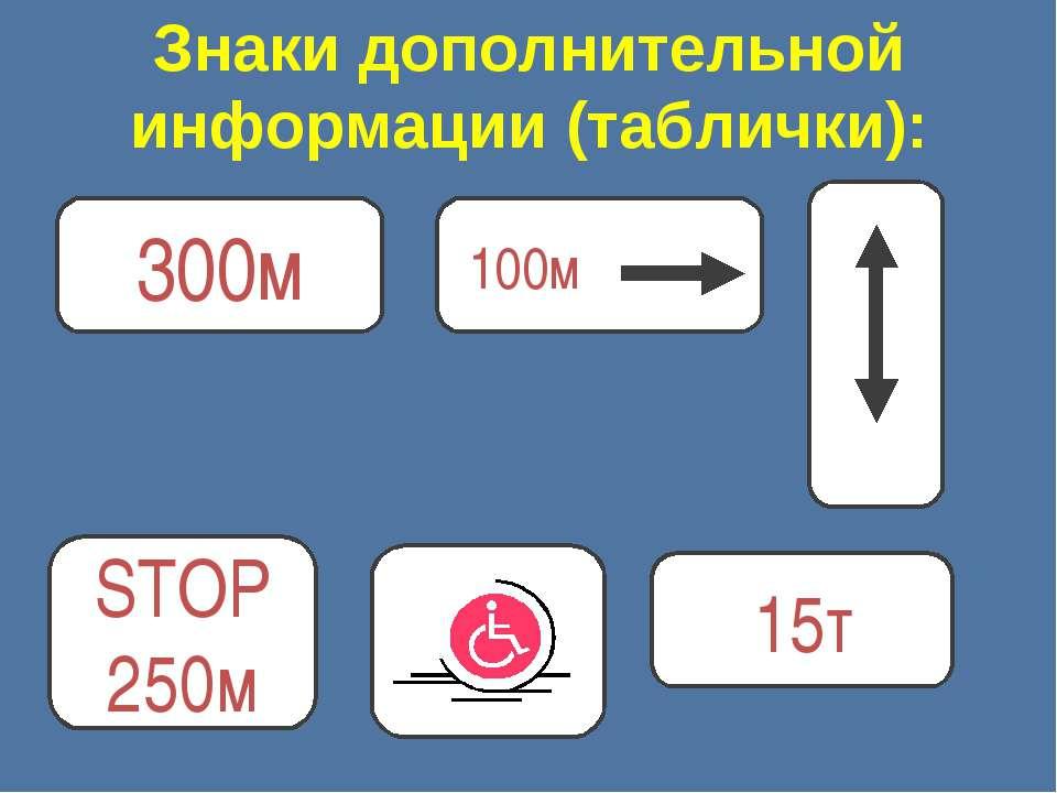 Знаки дополнительной информации (таблички): 300м 15т STOP 250м