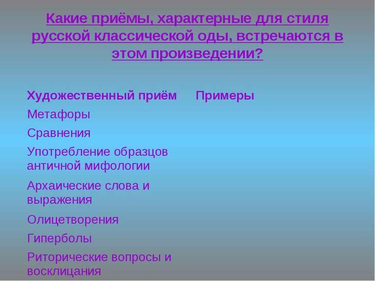 Какие приёмы, характерные для стиля русской классической оды, встречаются в э...