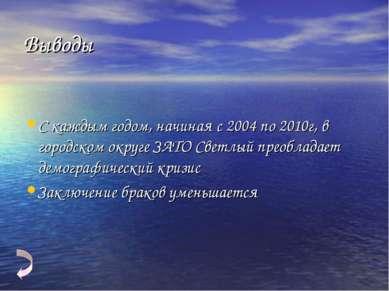Выводы С каждым годом, начиная с 2004 по 2010г, в городском округе ЗАТО Светл...