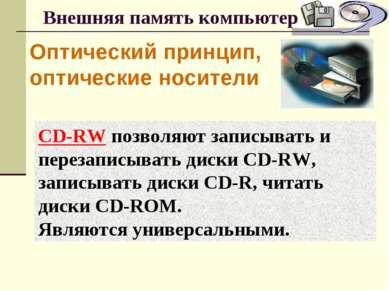 Внешняя память компьютера Оптический принцип, оптические носители CD-RW позво...