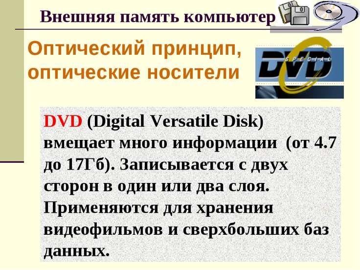 Внешняя память компьютера Оптический принцип, оптические носители DVD (Digita...