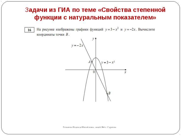 Задачи из ГИА по теме «Свойства степенной функции с натуральным показателем» ...