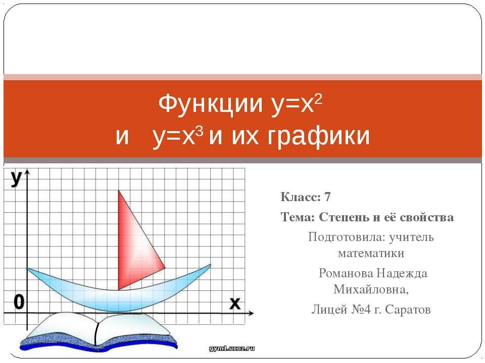 Класс: 7 Тема: Степень и её свойства Подготовила: учитель математики Романова...