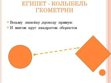 ЕГИПЕТ - КОЛЫБЕЛЬ ГЕОМЕТРИИ Возьму линейку ,проведу прямую И мигом круг квадр...