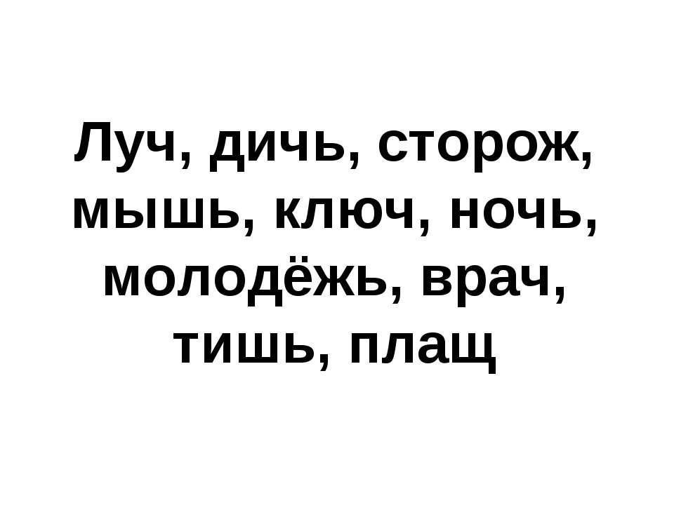 Луч, дичь, сторож, мышь, ключ, ночь, молодёжь, врач, тишь, плащ