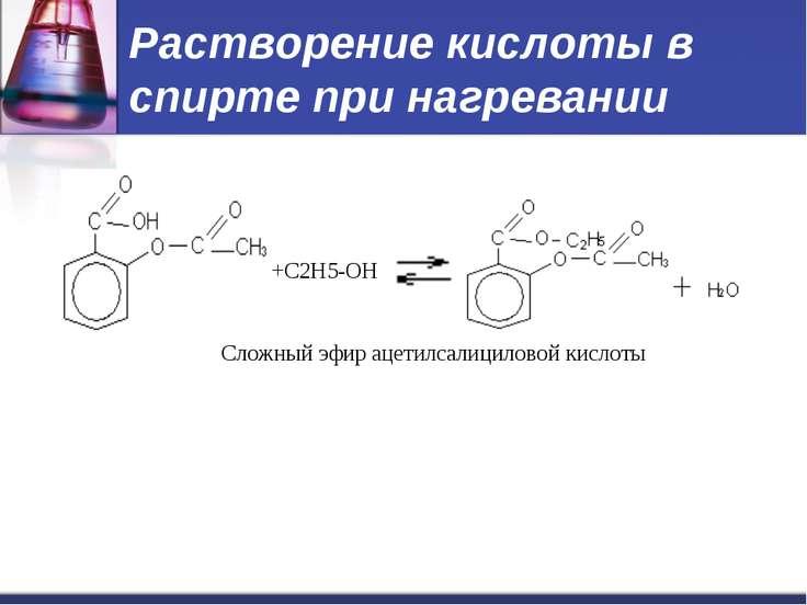 Растворение кислоты в спирте при нагревании +С2H5-OH Сложный эфир ацетилсалиц...