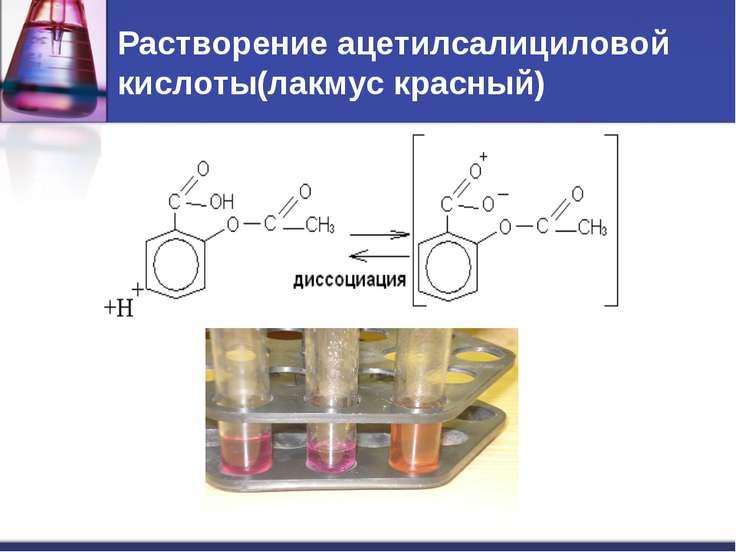 Растворение ацетилсалициловой кислоты(лакмус красный)