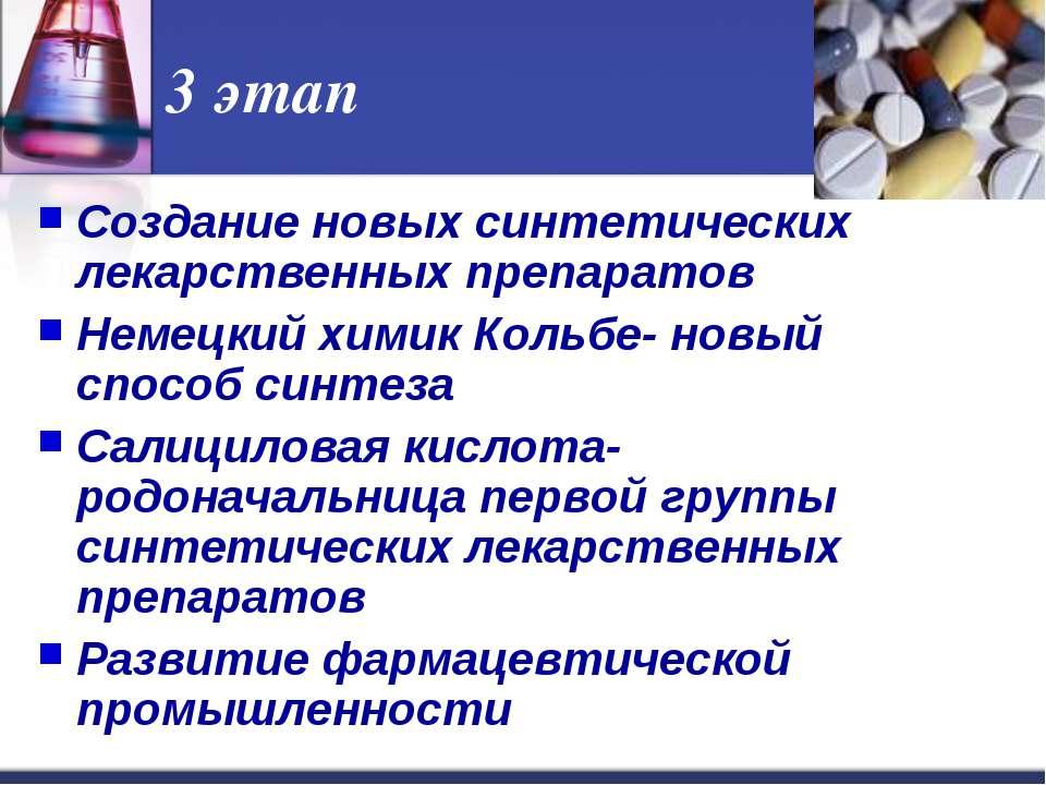 3 этап Создание новых синтетических лекарственных препаратов Немецкий химик К...