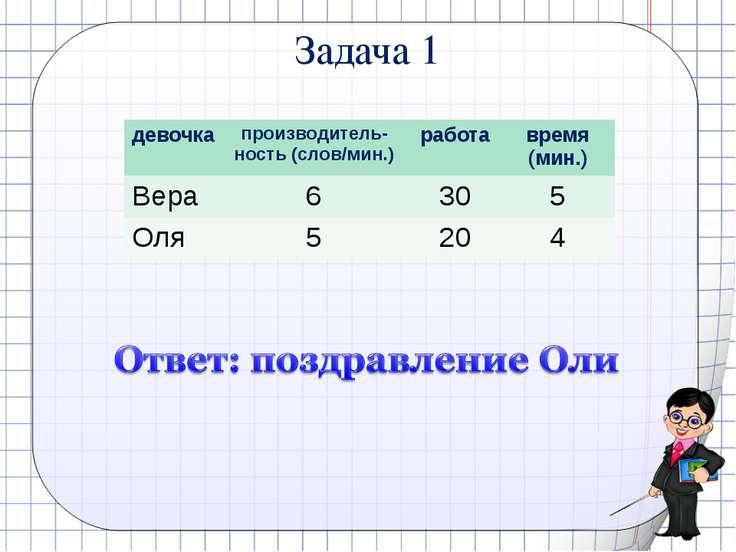 Задача 1 девочка кол-во слов время (мин.) SMS(кол. сл.) время (мин.) Вера 24 ...