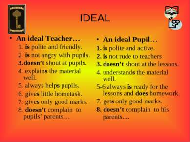IDEAL An ideal Teacher… is polite and friendly. is not angry with pupils. doe...
