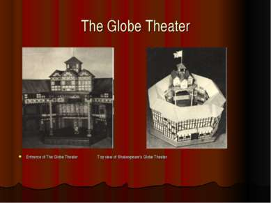 The Globe Theater Entrance of The Globe Theater Top view of Shakespeare's Glo...
