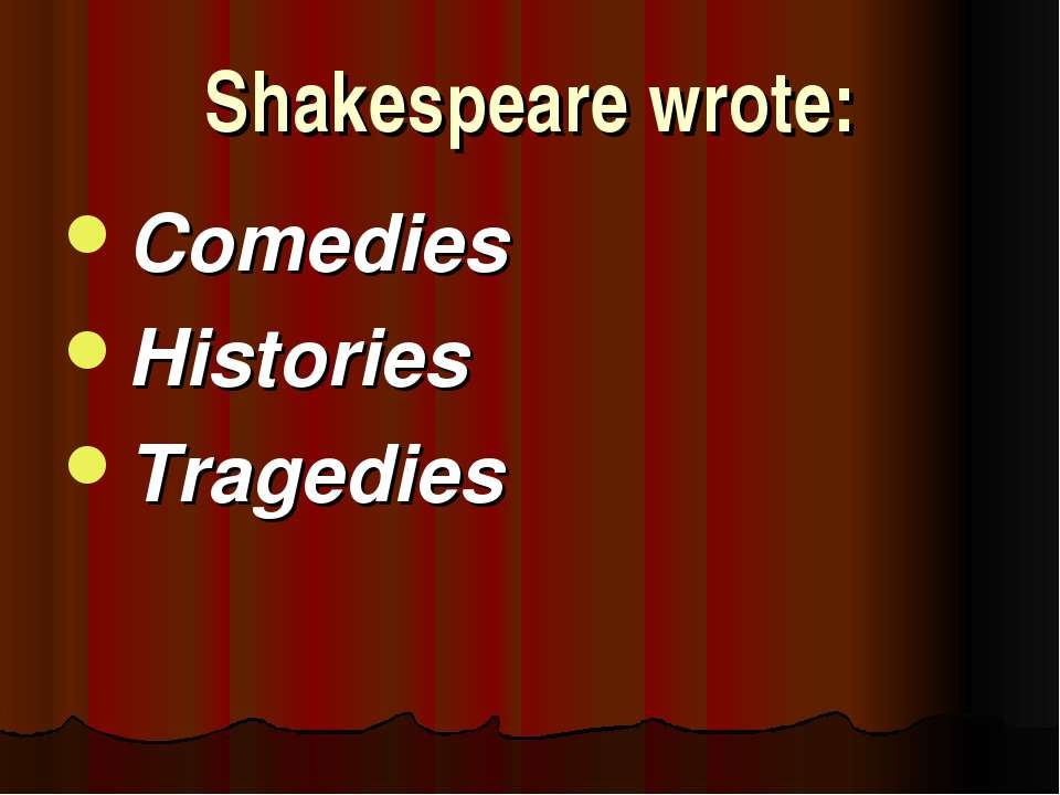 Shakespeare wrote: Comedies Histories Tragedies