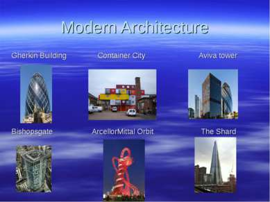 Modern Architecture Gherkin Building Container City Aviva tower Bishopsgate A...