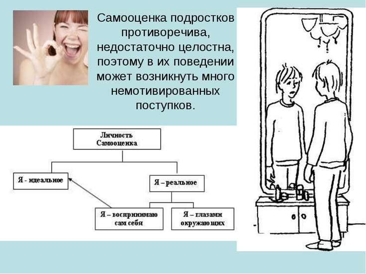 Самооценка подростков противоречива, недостаточно целостна, поэтому в их пове...