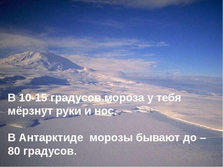 В 10-15 градусов мороза у тебя мёрзнут руки и нос. В Антарктиде морозы бывают...