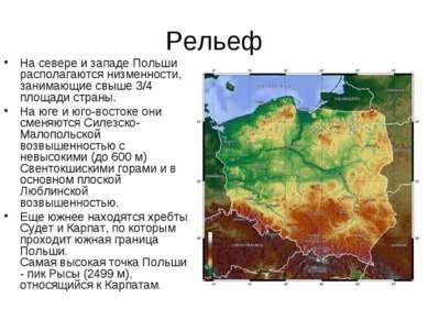 Рельеф На севере и западе Польши располагаются низменности, занимающие свыше ...