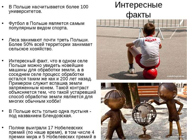 Интересные факты В Польше насчитывается более 100 университетов. Футбол в Пол...