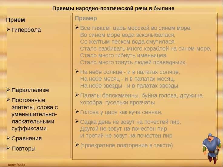 Приемы народно-поэтической речи в былине Прием Гипербола Параллелизм Постоянн...