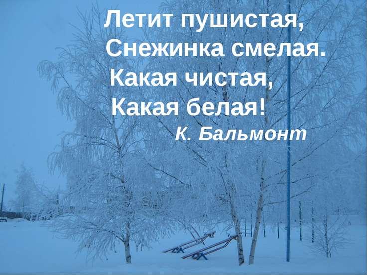 Летит пушистая,  Снежинка смелая. Какая чистая, Какая белая! К...