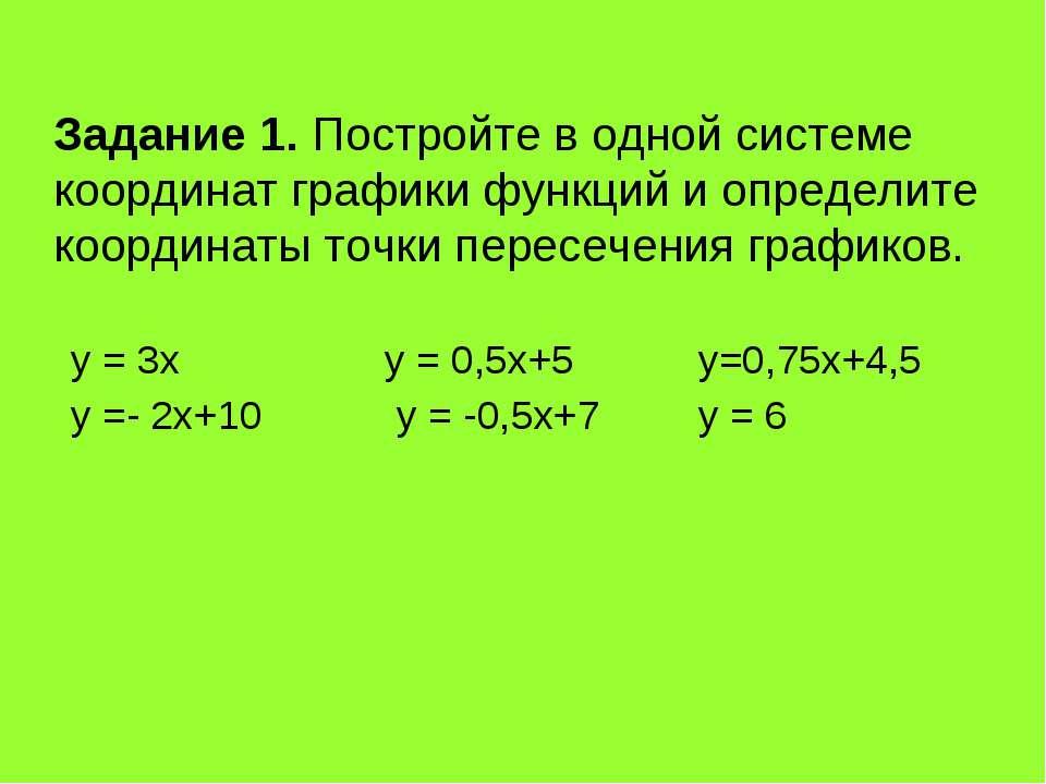 Задание 1. Постройте в одной системе координат графики функций и определите к...