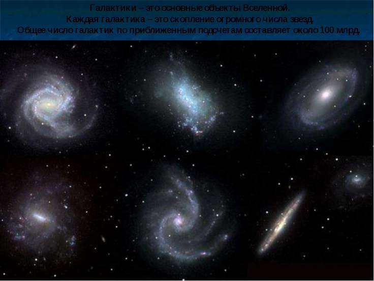 Галактики – это основные объекты Вселенной. Каждая галактика – это скопление ...
