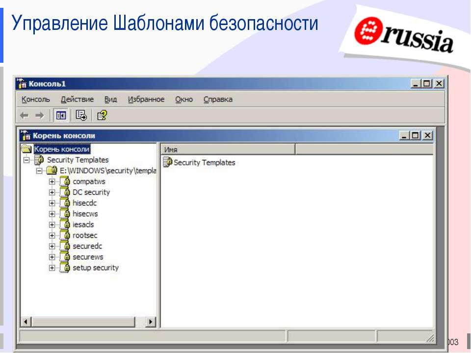 Электронная Россия (2002-2010), ЭР-2003 Управление Шаблонами безопасности Эле...