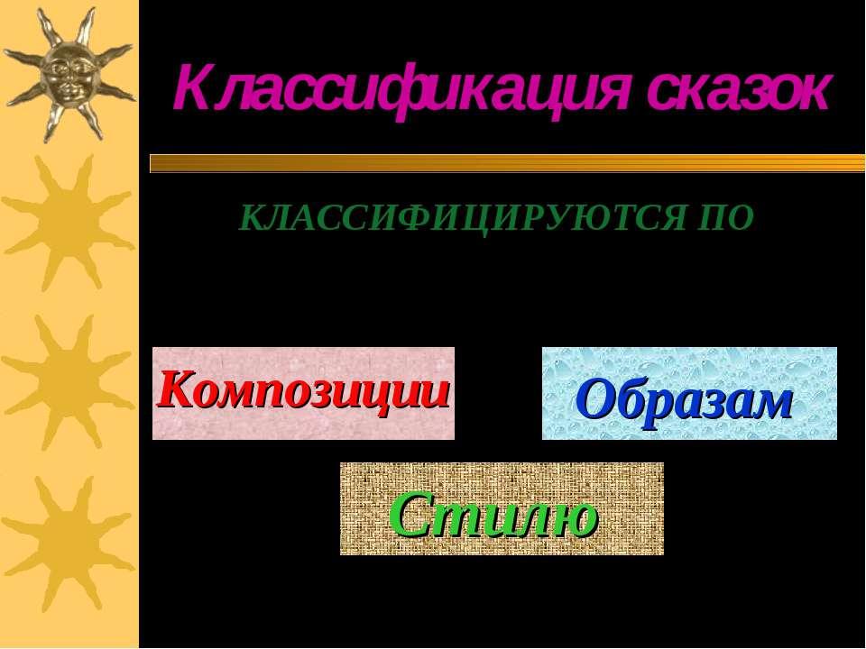 Классификация сказок КЛАССИФИЦИРУЮТСЯ ПО Композиции Стилю Образам