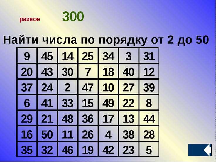 Найти числа по порядку от 2 до 50 разное 300